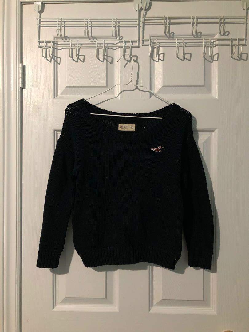 Hollister Dark Blue Knit Sweater w/ Knot On The Back