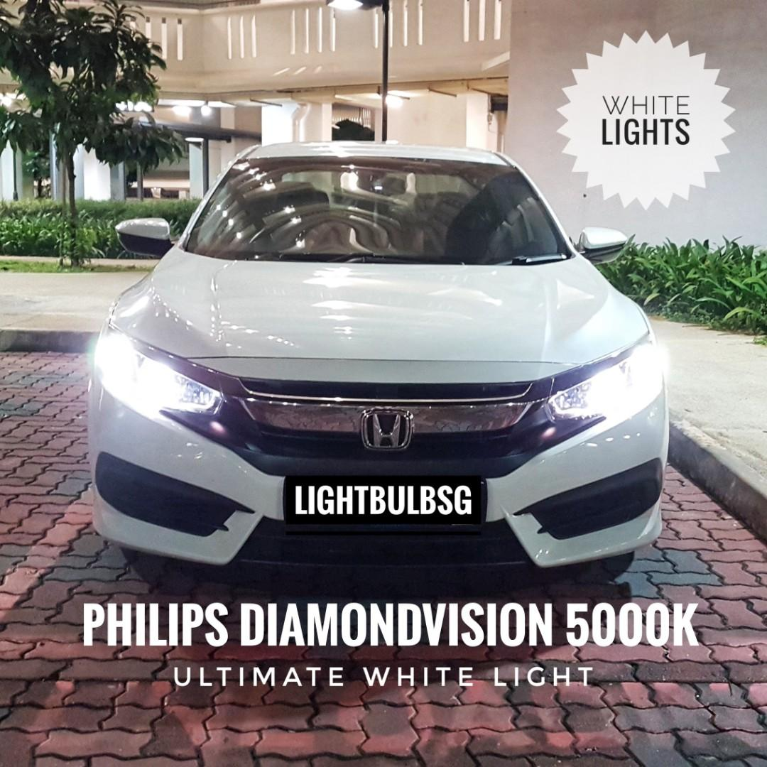 Honda civic FC - H11 and HB3 (low beam + high beam) white headlight bulb replacement with ORIGINAL Philips Diamondvision halogen bulb. Suitable for Honda City, Honda Fit, Honda Shuttle and all other makes.