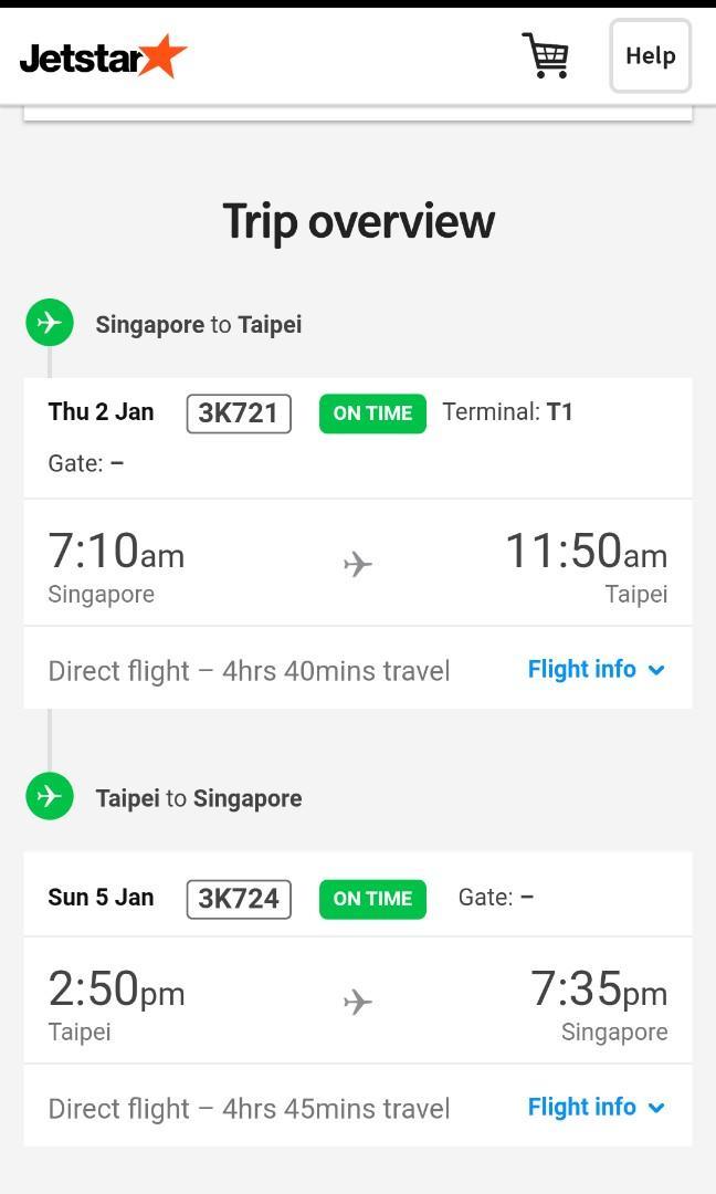 Jetstar Taiwan Return Ticket 02/01/2020-05/01/2020
