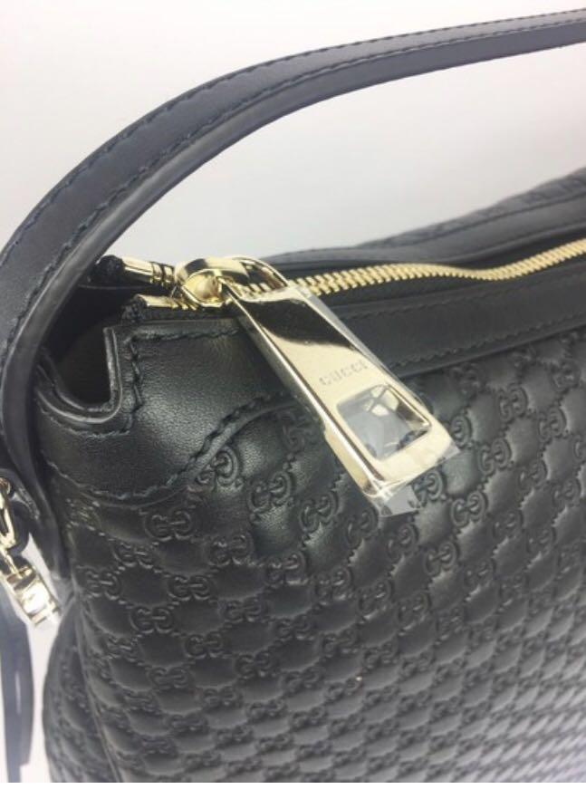 Authentic Large Black Micro-guccissima Leather Hobo Bag