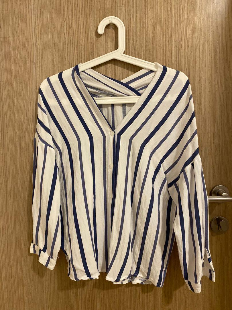 long sleeved striped blouse