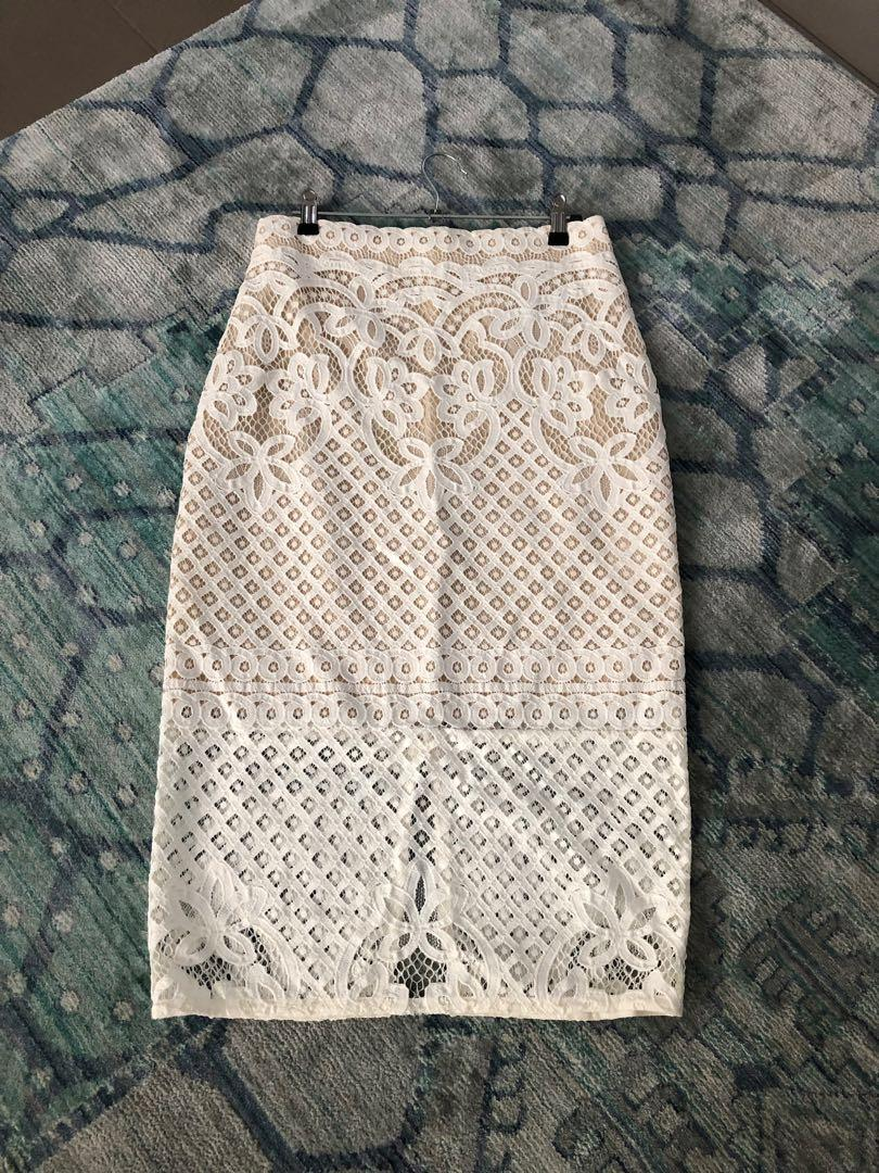 Lover the label, white/nude lace pencil skirt - size 10