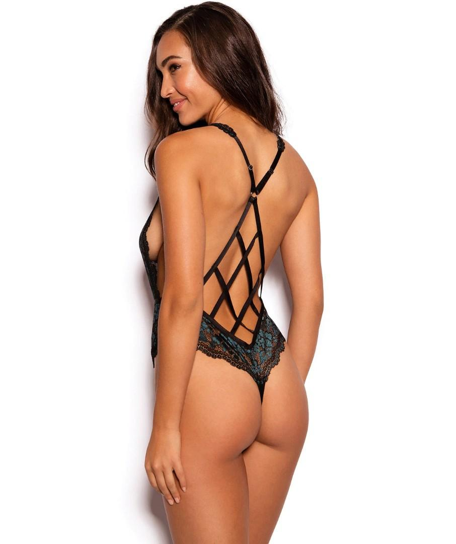 Madison Plunge Bodysuit Black/Teal, size 8, RRP$60
