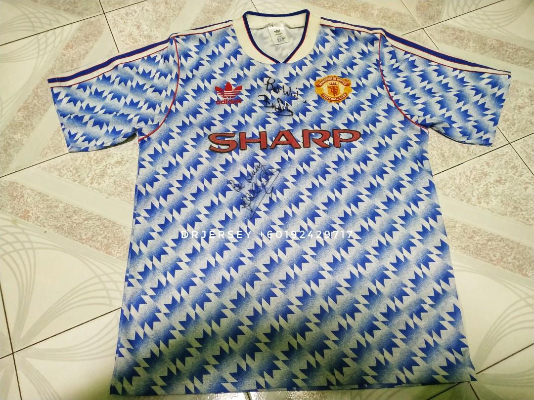 Manchester United Vintage away kit jersey 1990 (Lee Sharpe+Bryan Robson signature)
