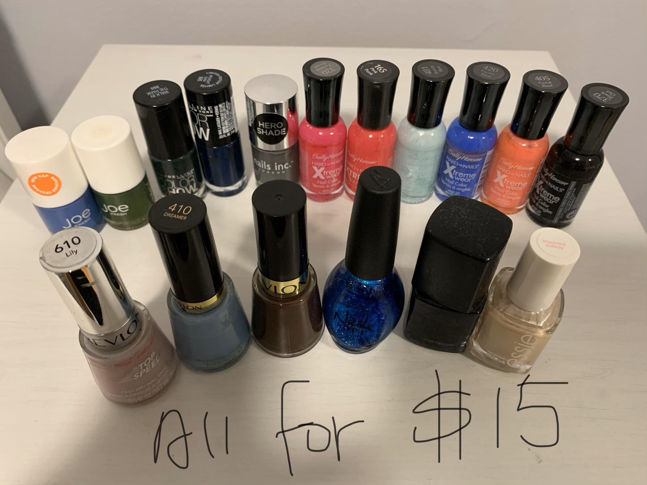 Nail polish: NARS, essie, Revlon, Sally Hansen, Joe, Maybelline