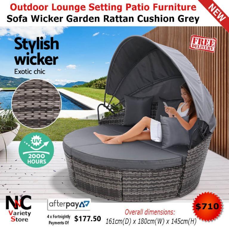 Outdoor Lounge Setting Patio Furniture Sofa Wicker Garden Rattan Cushion Grey