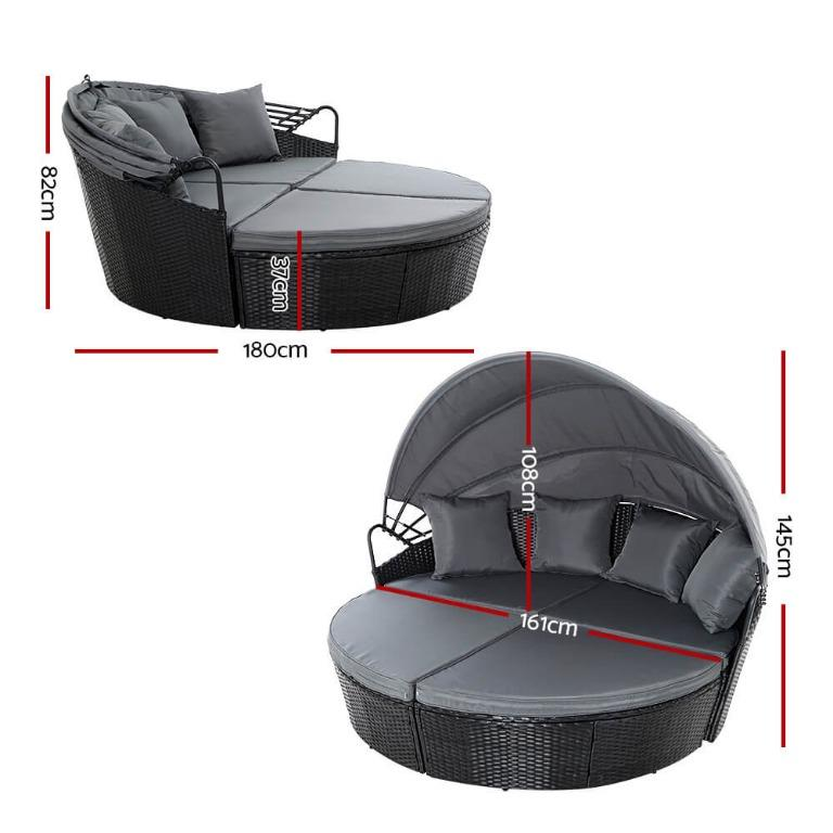 Outdoor Lounge Setting Patio Furniture Sofa Wicker Garden Rattan Set Black