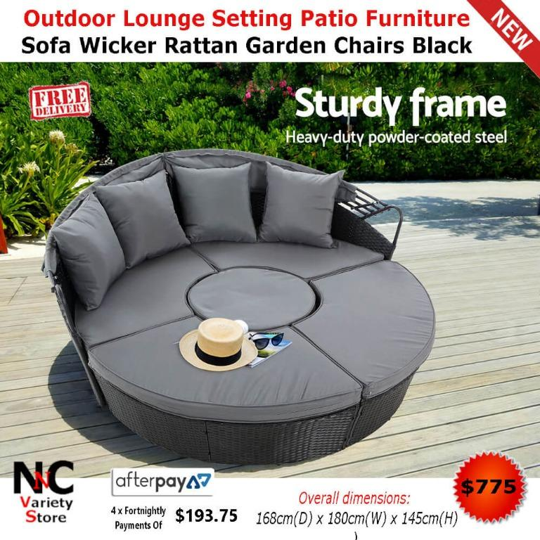 Outdoor Lounge Setting Patio Furniture Sofa Wicker Rattan Garden Chairs Black