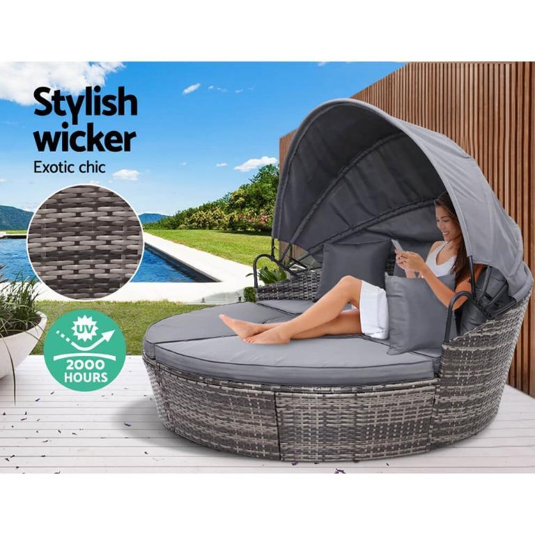 Outdoor Lounge Setting Patio Furniture Sofa Wicker Rattan Garden Set Table Grey