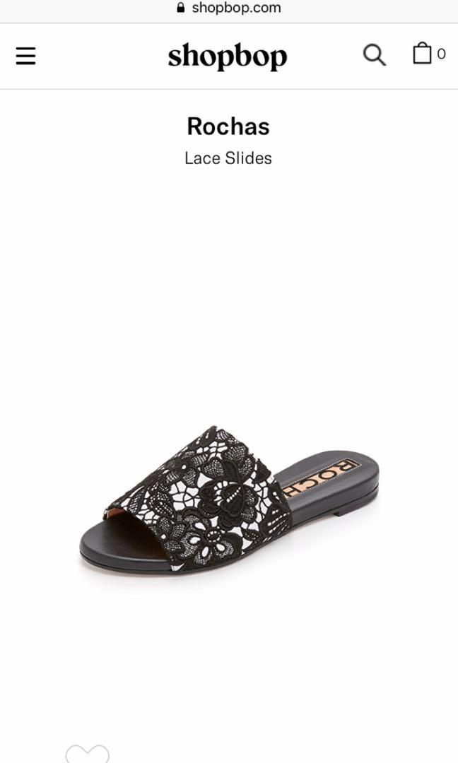 Rochas lace embroidered slide sandals size 38 women's