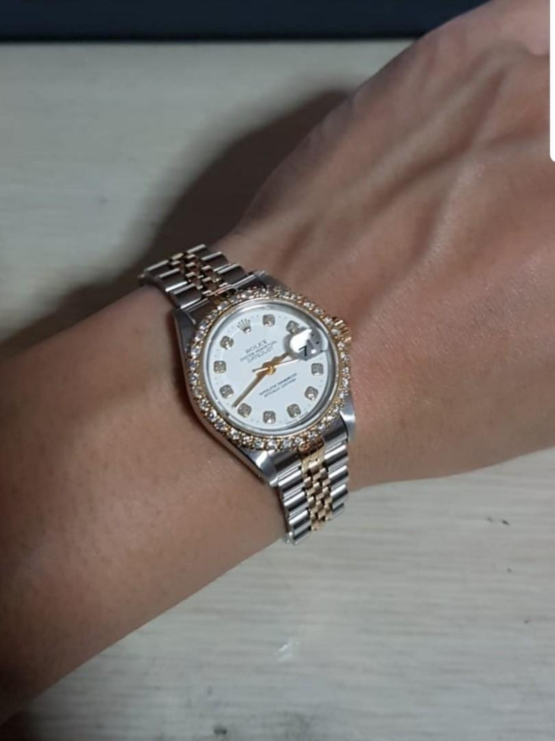 Rolex DateJust 26mm Ladies Diamond Dial Half Gold Jubilee Bracelet & original bezel with custom diamond bezel with PIN HOLE