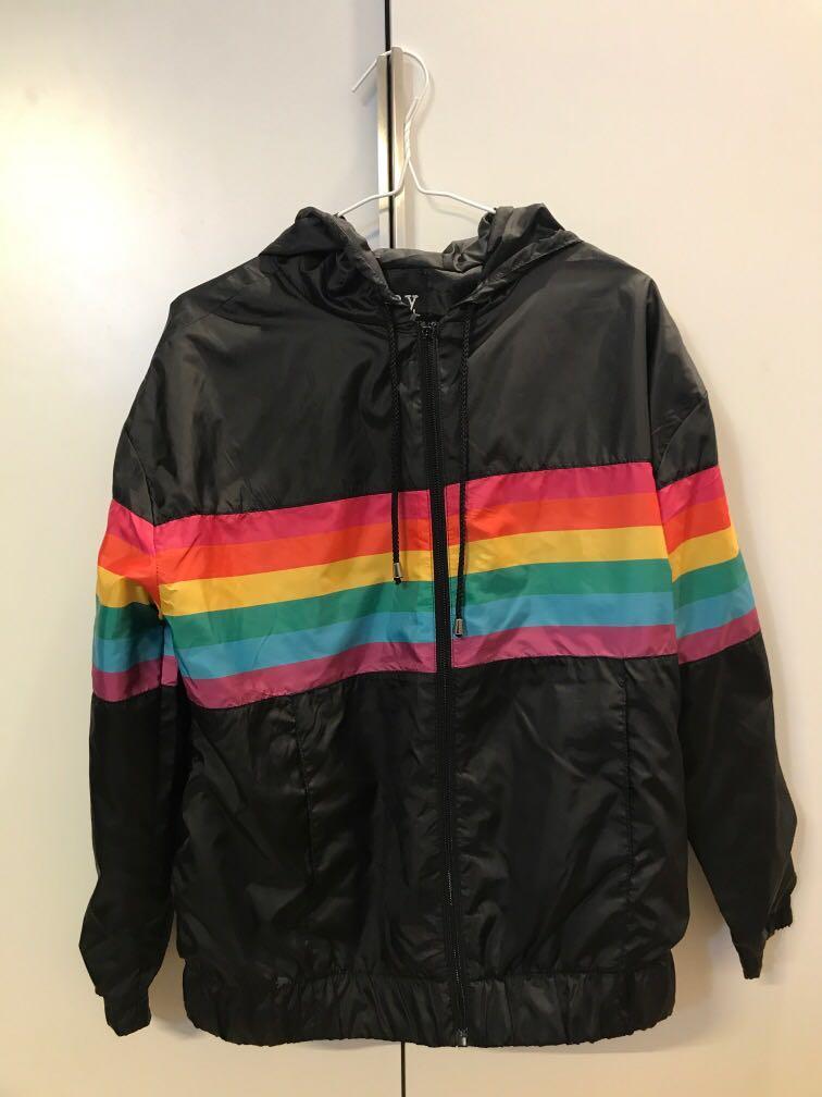 Say What Lightweight Black Rainbow Jacket Vintage Retro