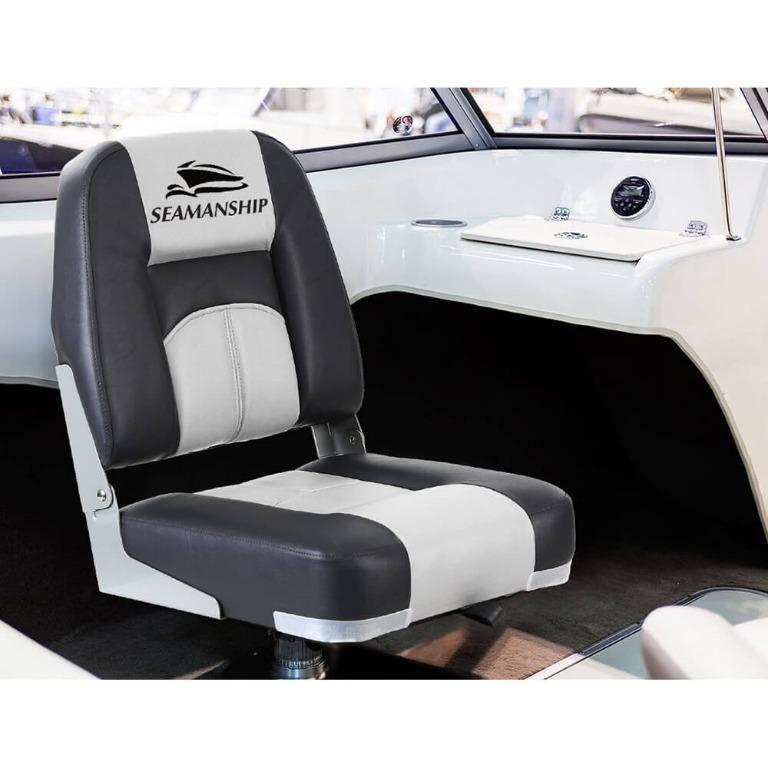 Seamanship 2X Folding Boat Seats Seat Marine Seating Set Swivels All Weather