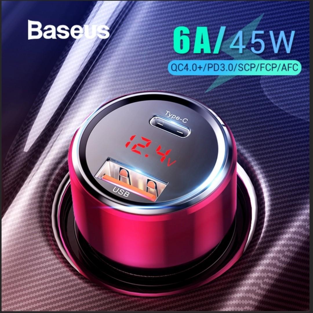 *SG SELLER* Baseus 45W 6A Fast PD QC3.0 USB Car Charger