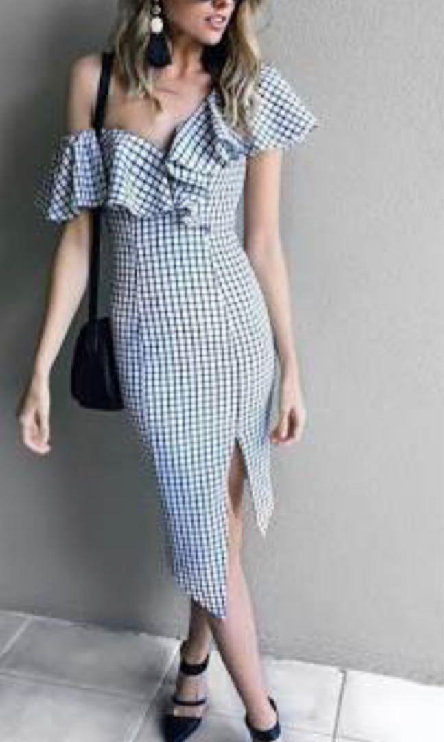 Sheike checkered past dress - size 12 BNWT