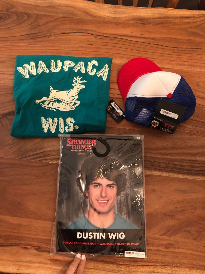 Stranger Things Dustin Costume BNWT ; shirt, wig, hat