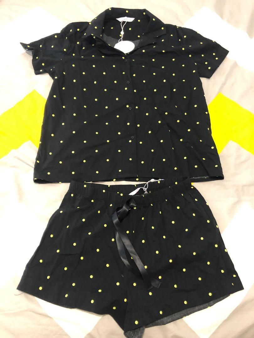 Supre Galaxy Polka Sleep Shirt and Shorts Black and Yellow set