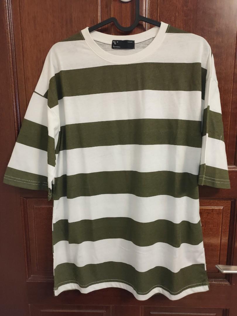 韓版綠橫條紋T恤