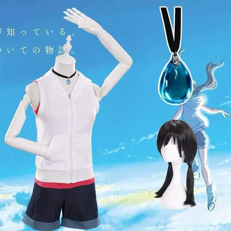 ☔WEATHERING WITH YOU HINA AMANO COSPLAY SET MOVIE ANIME COSPLAY WOMEN FASHION-COSTUME+WIG+NECKLACE☔