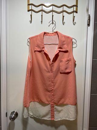 雪紡紗襯衫背心/粉紅橘背心