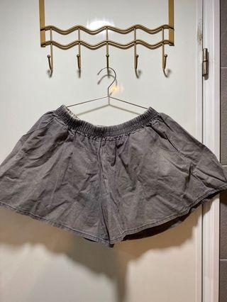 棉麻傘狀休閒居家鬆緊帶短褲灰色