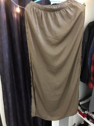 Brown Long Slit Skirt
