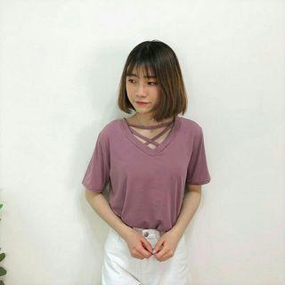 香芋紫 交叉短T 短袖 上衣