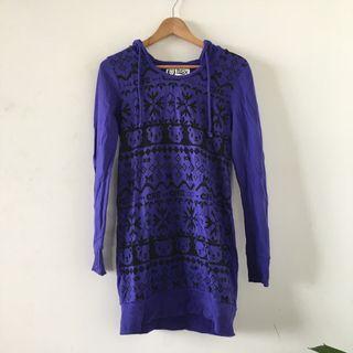 韓國品牌 | BSX | 紫色 迷幻 小熊 雪花 圖騰 印刷 長袖 長版 棉質 連帽 棉T 長袖上衣
