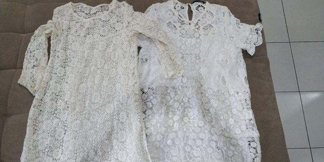 2 white dresses