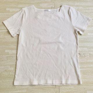 白色 坑紋 上衣 女 花邊 有彈性
