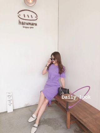 紫色綁帶洋裝