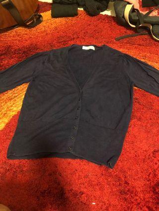 闕蘭絹 蠶絲服飾 深藍兩件式上衣 外套+背心