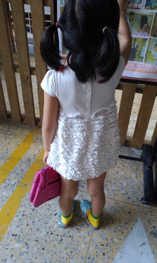 1/2白色公主亮片洋裝100公分