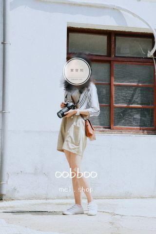 文青少女  -韓國製 棉麻連身褲 #亞麻灰綠