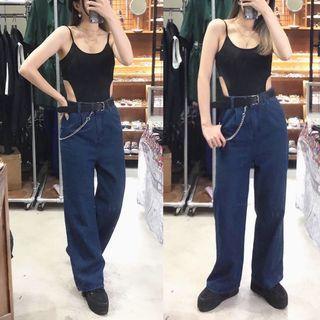 素色高衩連身褲/素色牛仔寬褲/鐵鍊造型皮帶