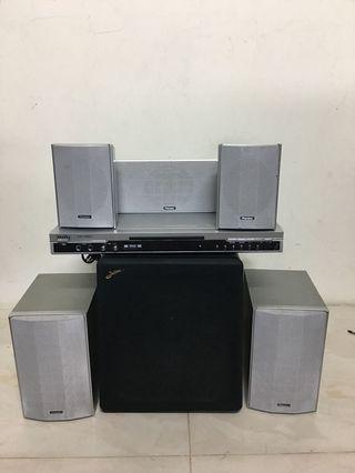 Active subwoofer + pioneer speakers dvd 5.1. Set  限鋒喇叭加主動式重低音 音響
