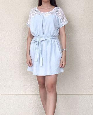 日系蕾絲淡藍色牛仔洋裝#五折清衣櫃
