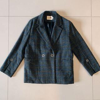 設計款開袖藍線格紋翻領西裝外套/M