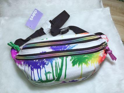 Claire's Hipster Cool Colorful Multicolored Rainbow Color Tropical Tree Plants White Casual Waist Bag