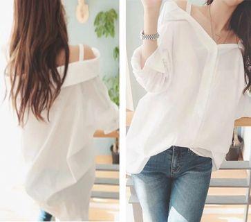 《出清》寬鬆中長款吊帶白襯衫性感露肩一字領長袖襯衫氣質襯衫女
