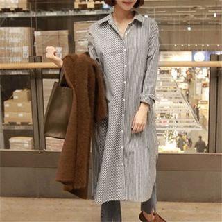 《出清》秋季新長袖條紋襯衫中長款女式襯衫