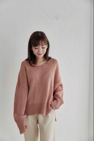 8成新reishop正韓粉色粗針織毛衣
