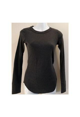 GAP Deep Gray Ribbed Body Hugging Long Sleeve Top