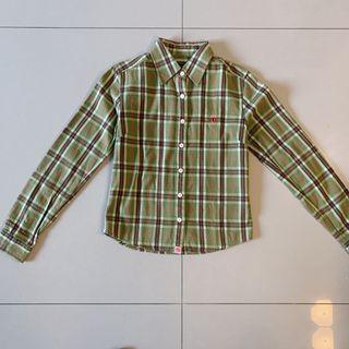 厚磅稀少色搭配格紋襯衫上衣/S