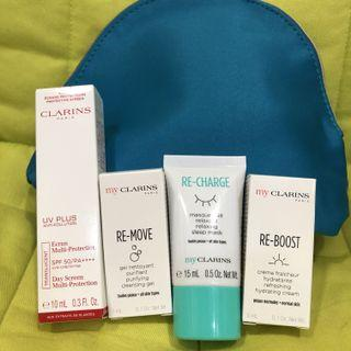 🆕Clarins RE-CHARGE Travel Set and Pouch