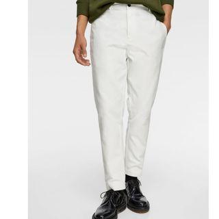Zara 白色紋理及踝西裝長褲 36