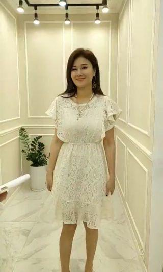 全新正韓米白蕾絲宮廷風洋裝