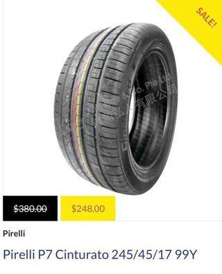 9/10 Pirelli P7 Cinturato 245/45 17 99Y tyres(1 set)
