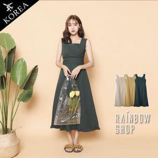 正韓/綠色綁帶連身長裙無袖氣質洋裝Rainbow shop