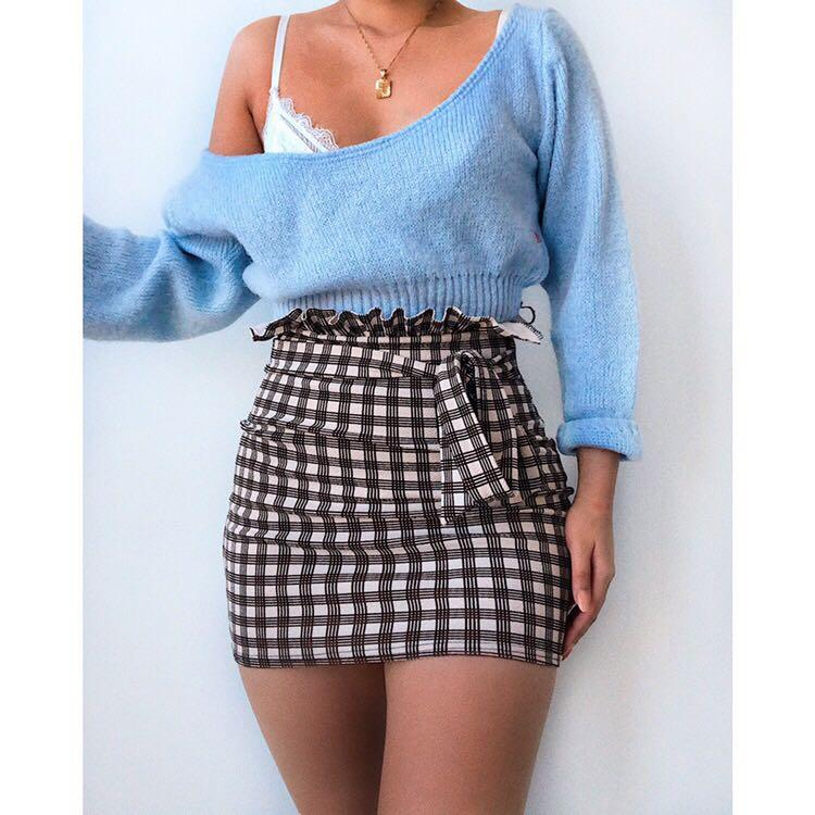 $18 GINGHAM MINI SKIRT   Super stretchy and comfortable 🧡
